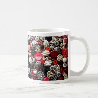 Collage negro y de plata rojo del botón taza de café