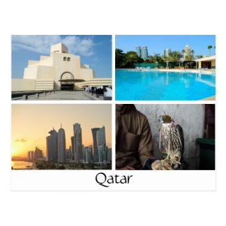 Collage of 4 photos in Qatar postcard