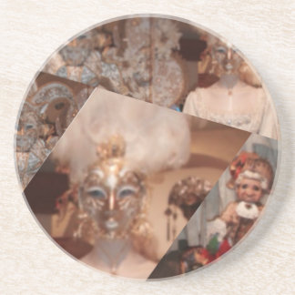 Collage of amazing masks in the Venice carnaval Coaster