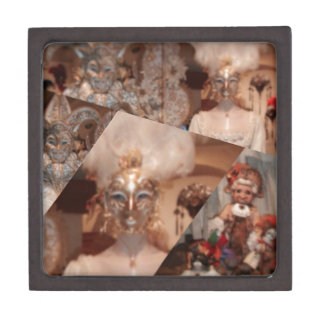 Collage of amazing masks in the Venice carnaval Keepsake Box