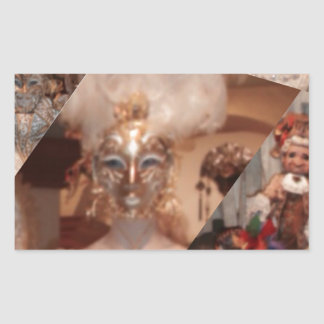 Collage of amazing masks in the Venice carnaval Rectangular Sticker