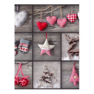 Collage Of Christmas Photos Over Grey Wood Postcard