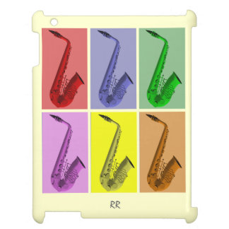 Collage of Colorful Saxophones iPad Case
