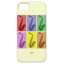 Collage of Colorful Saxophones iPhone 5 Case at Zazzle