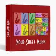 "Collage of Colorful Saxophones Music Binder 1"" at Zazzle"