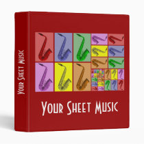 """Collage of Colorful Saxophones Music Binder 1"""" at Zazzle"""
