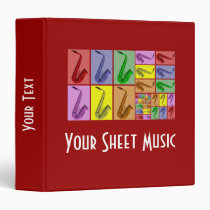 """Collage of Colorful Saxophones Music Binder 1.5"""" at Zazzle"""