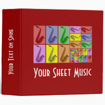 """Collage of Colorful Saxophones Music Binder 2"""" at Zazzle"""