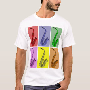 Collage Of Colorful Saxophones Music T Shirt at Zazzle