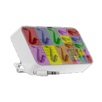 Collage of Colorful Saxophones on Mp3 Speaker Mini Speakers at  Zazzle
