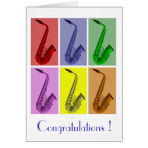 Collage of Colorful Saxophones Pattern Card at Zazzle