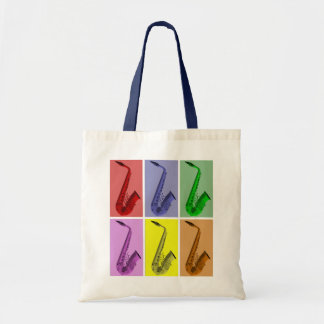 Collage of Colorful Saxophones Pattern Tote