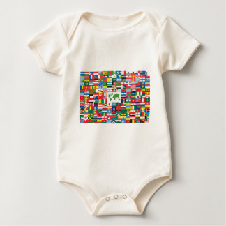 Collage of Country Flags from All Over The World Baby Bodysuits