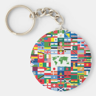 Collage of Country Flags from All Over The World Key Chain