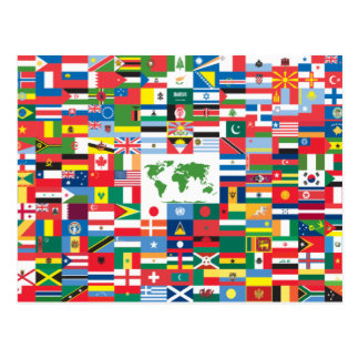 Collage of Country Flags from All Over The World Postcard