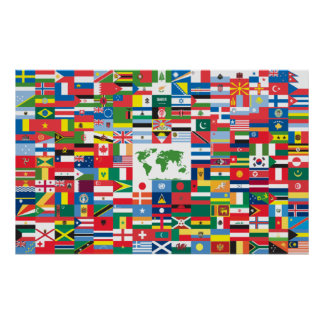 Collage of Country Flags from All Over The World Poster