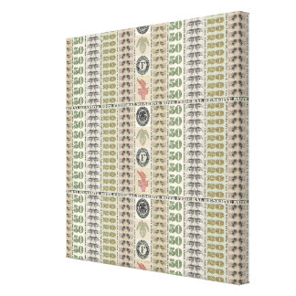 Collage of Currency Graphic Gallery Wrapped Canvas