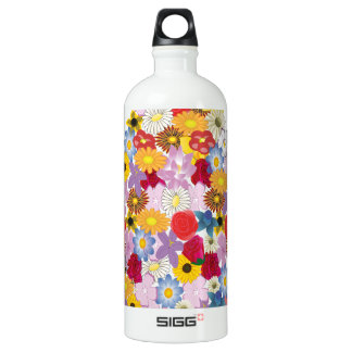 Collage of Different Flowers in Bloom Water Bottle