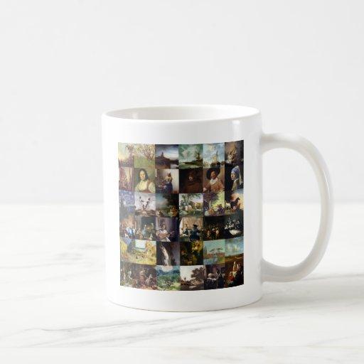 Collage of paintings of van Gogh, Vermeer, etc Mugs