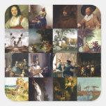 Collage of paintings of van Gogh, Vermeer, etc Square Sticker
