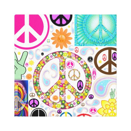 Collage of Peace Canvas Print - abstract peace sign wall art