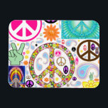 """Collage of Peace Magnet<br><div class=""""desc"""">One can never have too many peace symbols.</div>"""