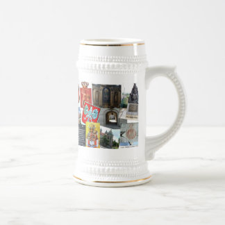 COLLAGE OF POLISH SIGHTS AND SYMBOLS 18 OZ BEER STEIN