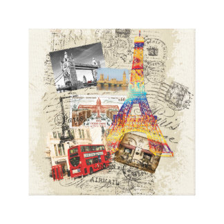 collage of poststamps canvas print