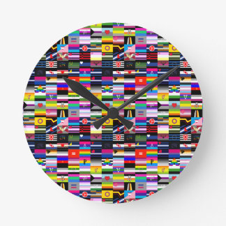 Collage of Pride Flags Round Wallclock