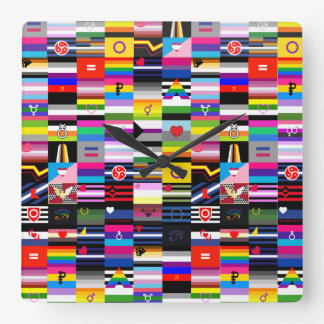 Collage of Pride Flags Square Wallclocks