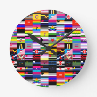 Collage of Pride Flags Round Wall Clocks