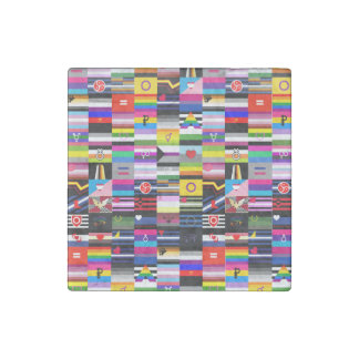 Collage of Pride Flags Stone Magnet