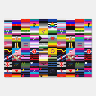 Collage of Pride Flags Lawn Sign