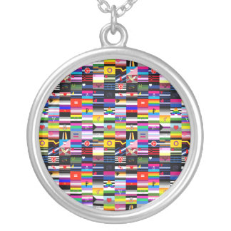 Collage of Pride Flags Round Pendant Necklace