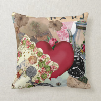 Collage of Red Heart Decorated Card and Paris Throw Pillow