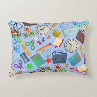 Collage of School Supplies Accent Pillow