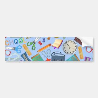 Collage of School Supplies Bumper Sticker