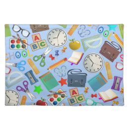 Collage of School Supplies Cloth Placemat