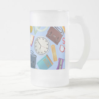 Collage of School Supplies Frosted Glass Beer Mug