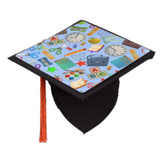 Collage of School Supplies Graduation Cap Topper
