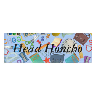 Collage of School Supplies Name Tag