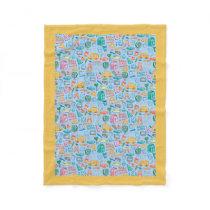 Collage of School Supplies on Blue Fleece Blanket