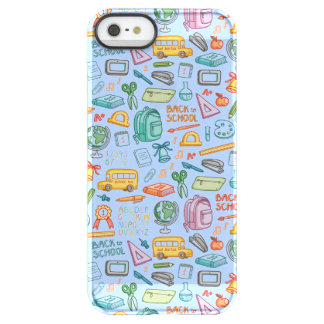 Collage of School Supplies on Blue Permafrost iPhone SE/5/5s Case