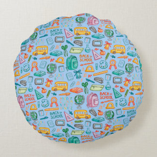 Collage of School Supplies on Blue Round Pillow