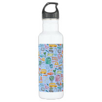 Collage of School Supplies on Blue Stainless Steel Water Bottle