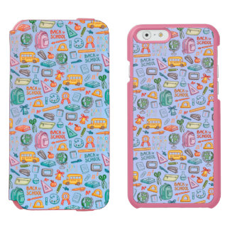 Collage of School Supplies on Blue Incipio Watson™ iPhone 6 Wallet Case