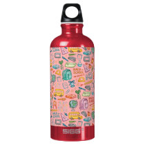 Collage of School Supplies on Pink Aluminum Water Bottle