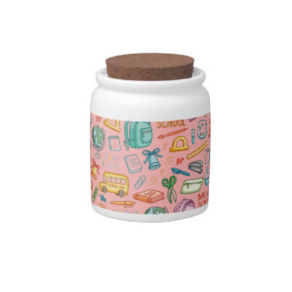 Collage of School Supplies on Pink Candy Jar