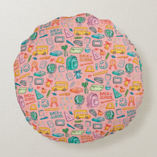 Collage of School Supplies on Pink Round Pillow