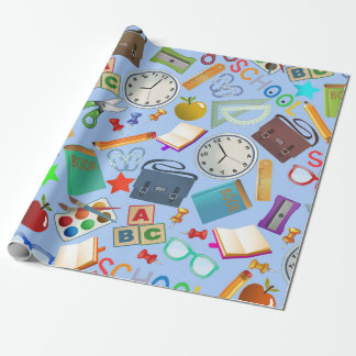 Collage of School Supplies Wrapping Paper